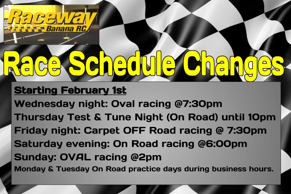 Racing schedule change